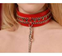 Ошейник кожаный красный шириной 50мм,с цепочкой-поводком с карабином длиной 50см 3101-2