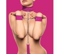 Розовый ошейник с поводком и наручниками Velcro Collar With Seperate Cuffs