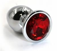 Серебристая алюминиевая анальная пробка с красным кристаллом - 7 см.