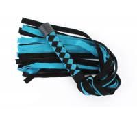 Черно-голубая замшевая плеть с ромбами на ручке - 58 см.