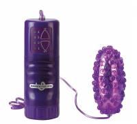 Фиолетовое водонепроницаемое виброяйцо с пупырышками