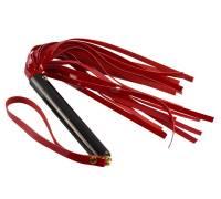 Красная лаковая плеть с черной рукоятью - 40 см.
