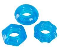Набор из 3 голубых эрекционных колец Stretchy Cock Ring