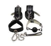 Пикантный БДСМ-набор на мягкой подкладке: наручники, поножи, ошейник с поводком, кляп