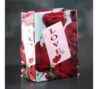 """Подарочный пакет """"Love"""" с розами - 15 х 12 см."""