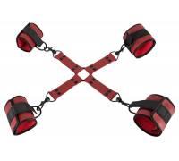 Красно-черная фиксация крестовая для рук и ног Bondage Set