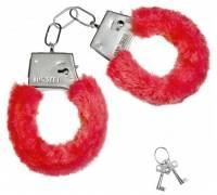 Красные плюшевые наручники с ключиками