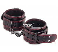 Черные наручники Bondage Fetish Pleasure Handcuffs с контрастной строчкой