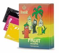 """Ароматизированные презервативы AMOR Fruit """"Яркая линия"""" - 3 шт."""