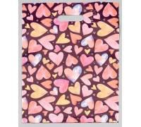 Подарочный пакет с сердечками - 31 х 40 см