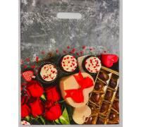 """Полиэтиленовый пакет """"Конфеты и цветы"""" - 31 х 40 см"""