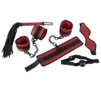 Красно-черный набор из 5 предметов для БДСМ-игр