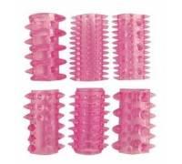 Набор из 6 розовых насадок на пенис - 5,5 см.