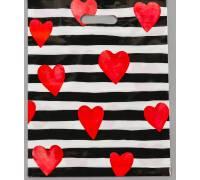 """Полиэтиленовый пакет """"Красные сердечки"""" - 31 х 40 см"""