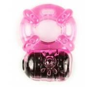 Розовое эрекционное кольцо c вибропулей
