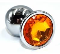 Серебристая анальная пробка из нержавеющей стали с желтым кристаллом - 10 см.