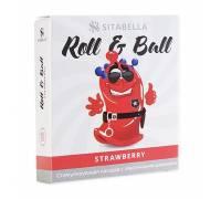 Стимулирующий презерватив-насадка Roll & Ball Strawberry