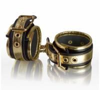 Золотисто-чёрные кожаные наручники