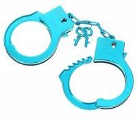 """Голубые пластиковые наручники """"Блеск"""""""