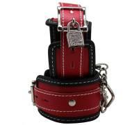 Красно-черные регулируемые наручники с фиксацией на карабинах
