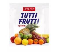 Пробник гель-смазки Tutti-frutti со вкусом тропических фруктов - 4 гр.