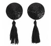 Черные круглые пэстисы с кисточками
