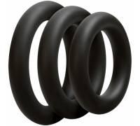 Набор широких чёрных эрекционных колец OPTIMALE 3 C-Ring Set Thick