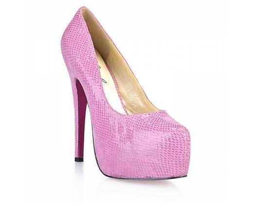 Розовые туфли под питона Glamour Snake