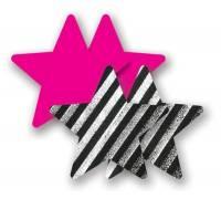 Комплект из 1 пары розовых пэстис-звездочек и 1 пары черно-белых пэстис-звездочек в полоску