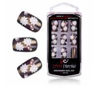 Бронзовые акриловые типсы с цветами и кристаллами Bronze Beauty