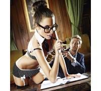Игровой костюм сексуальной секретарши: топ, юбка, воротничок и галстук