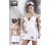 Белый лаковый костюм медсестры