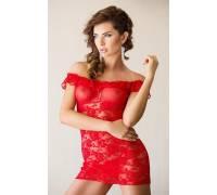 Сорочка с цветочным узором и воланом