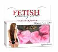 Металлические наручники Furry Love Cuffs с розовым мехом