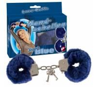 Меховые наручники синего цвета
